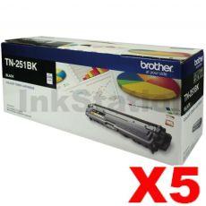 5 x Brother TN-251BK Genuine Black Toner Cartridge - 2,500 pages
