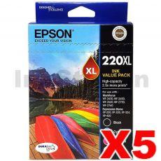 5 x Epson 220XL Genuine High Yield Ink Value Pack [C13T294692] [5BK,5C,5M,5Y]
