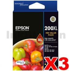 3 x Epson 200XL (C13T201692) Genuine High Yield Inkjet Value Pack [3BK,3C,3M,3Y]