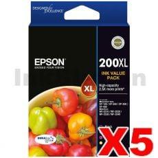 5 x Epson 200XL (C13T201692) Genuine High Yield Inkjet Value Pack [5BK,5C,5M,5Y]