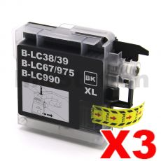 3 x Brother LC-39BK Compatible Black(High-Capacity) - 300 pages