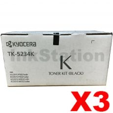 3 x Genuine Kyocera TK-5234K Black Toner Cartridge Ecosys M5521, P5021 - 2,600 pages