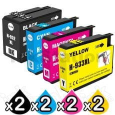 2 sets of 4 Pack HP 932XL + 933XL Compatible High Yield Inkjet Cartridges CN053AA - CN056AA [2BK,2C,2M,2Y]