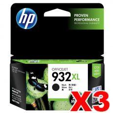 3 x HP 932XL Genuine Black High Yield Inkjet Cartridge CN053AA