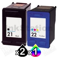 3 Pack HP 21XL + 22XL Compatible Inkjet Cartridges C9351CA + C9352CA [2BK,1CL]