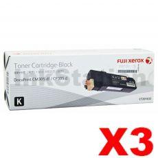 3 x Fuji Xerox DocuPrint CP305d,CM305df Genuine Black Toner Cartridge - 3,000 pages (CT201632)