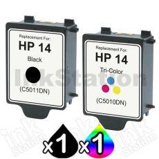 2 Pack HP 14 Compatible Inkjet Cartridges C5010DA+C5011DA [1BK,1CL]