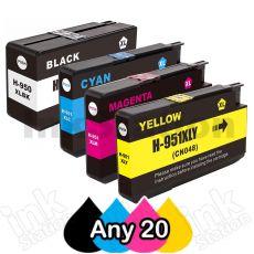Any 20 x HP 950XL + 951XL Compatible Inkjet Cartridges CN045AA - CN048AA [BK,C,M,Y]