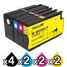 10 Pack HP 955XL Compatible High Yield Inkjet Combo L0S63AA - L0S72AA [4BK,2C,2M,2Y]