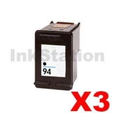 3 x HP 94 Compatible Black Inkjet Cartridge C8765WA