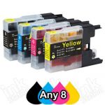 Any 8 Brother LC73/LC77XL Compatible High Yield Ink Cartridge