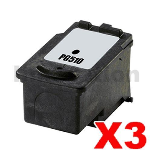 3 x Canon PG-510 Black Compatible InkJet Cartridge - 220 pages