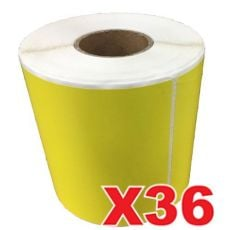 36 Rolls Perforated Direct Thermal Labels Yellow 100mm X 150mm - 350 Labels per Roll