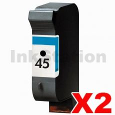2 x HP 45 Compatible Black Inkjet Cartridge 51645AA
