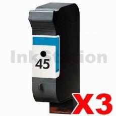 3 x HP 45 Compatible Black Inkjet Cartridge 51645AA