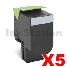 5 x Lexmark (80C8HK0) Compatible CX410 / CX510 Black High Yield Toner Cartridge - 4,000 pages