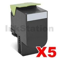 5 x Lexmark (70C8HK0) Compatible CS310 / CS410 / CS510 Black High Yield Toner Cartridge - 4,000 pages