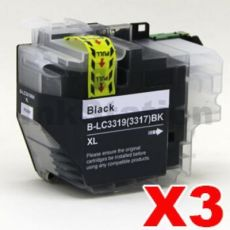 3 x Brother LC-3319XL BK Compatible Black Ink Cartridges - 3,000 pages (High Yield of Brother LC-3317 BK)