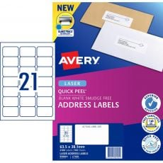 AVERY #959001 Quick Peel White Address Labels with Sure Feed LASER 21UP 63.5 x 38.1mm - L7160 (2100 Labels/100 Sheets)