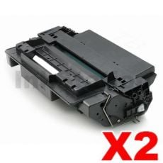 2 x HP CE255X (55X) Compatible Black High Yield Toner Cartridge - 12,000 Pages