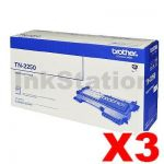 3 x Brother TN-2250 Genuine Toner Cartridge - 2,600 pages