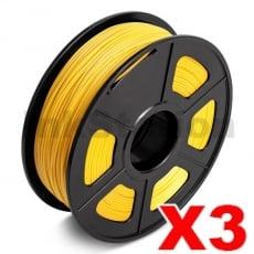 3 x PLA 3D Filament 1.75mm Light Gold - 1KG