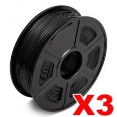 3 x PLA 3D Filament 1.75mm Black - 1KG