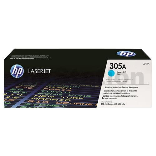 HP CE411A (305A) Genuine Cyan Toner Cartridge - 2,600 Pages