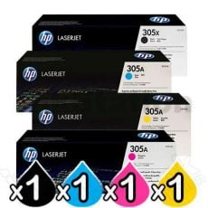 4 Pack HP CE410X-CE413A (305X/305A) Genuine Toner Cartridges [1BK,1C,1M,1Y]