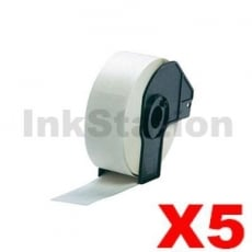 5 x Brother DK-11201 Compatible Black Text on White 29mm x 90mm Die-Cut Paper Label Roll - 400 labels per roll
