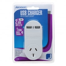 Jackson 1 Outlet with 2 USB Charging Ports USB Fast Charger PT1USB - White