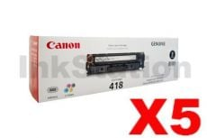 5 x Genuine Canon CART-418BK Black Toner Cartridge - 3,400 pages