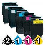 5 Pack Lexmark Compatible C540 / C543 / C544 / C546 / X543 / X544 / X546 Toner Cartridges High Yield - BK 2,500 pages & CMY 2,000 pages