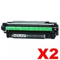 2 x HP CE250X (504X) Compatible Black Toner Cartridge - 10,500 Pages