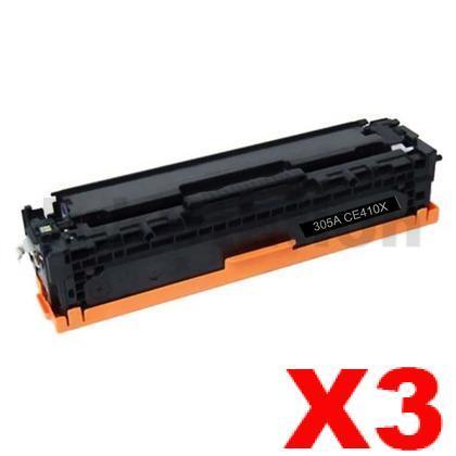 3 x HP CE410X (305X) Compatible Black Toner Cartridge - 4,000 Pages