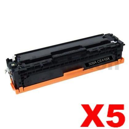 5 x HP CE410X (305X) Compatible Black Toner Cartridge - 4,000 Pages