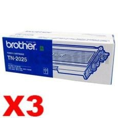 3 x Genuine Brother TN-2025 Toner Cartridge - 2,500 pages