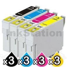 12 Pack Compatible Epson T0561-T0564 series [3BK,3C,3M,3Y]