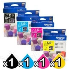 4 Pack Genuine Brother LC-133 Ink Cartridges [BK+C+M+Y]
