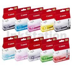 10-Pack Canon PIXMA Pro9500 PGI-9 Genuine InkJet Cartridge  [1MBK,1PBK,1C,1M,1Y,1PC,1PM,1GY,1G,1R]