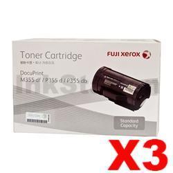 3 x Genuine Fuji Xerox DocuPrint M355df, P355d Black Toner - 4,000 pages (CT201937)