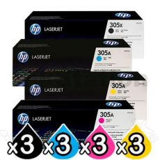 3 sets of 4 Pack HP CE410X-CE413A (305X/305A) Genuine Toner Cartridges [3BK,3C,3M,3Y]
