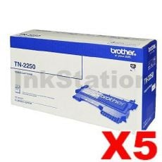 5 x Brother TN-2250 Genuine Toner Cartridge - 2,600 pages