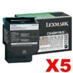 5 x Lexmark (C540H1KG) Genuine C540 / C543 / C544 / C546 / X543 / X544 / X546 Black HY Toner Cartridge - 2,500 pages