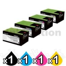 4 Pack Lexmark Genuine CS310 / CS410 / CS510 Toner Cartridges High Yield - BK 4,000 pages & CMY 3,000 pages