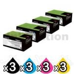 3 sets of 4 Pack Lexmark Genuine CS310 / CS410 / CS510 Toner Cartridges High Yield - BK 4,000 pages & CMY 3,000 pages