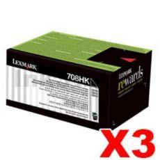 3 x Lexmark (70C8HK0) Genuine CS310 / CS410 / CS510 Black High Yield Toner Cartridge - 4,000 pages