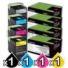 4 Pack Lexmark Genuine CS310 / CS410 / CS510 Toner Cartridges Standard Yield