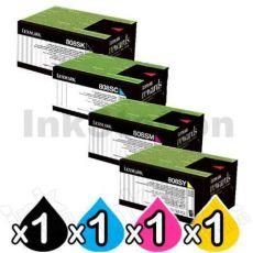 4 Pack Lexmark Genuine CX310 / CX410 / CX510 Toner Cartridges Standard Yield - BK 2,500 pages, C/M/Y 2,000 pages