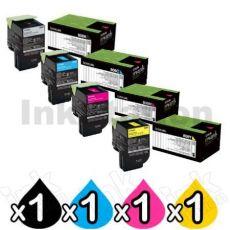 4 Pack Lexmark Genuine CX310 / CX410 / CX510 Toner Cartridges - BK 1,000 pages, C/M/Y 1,000 pages